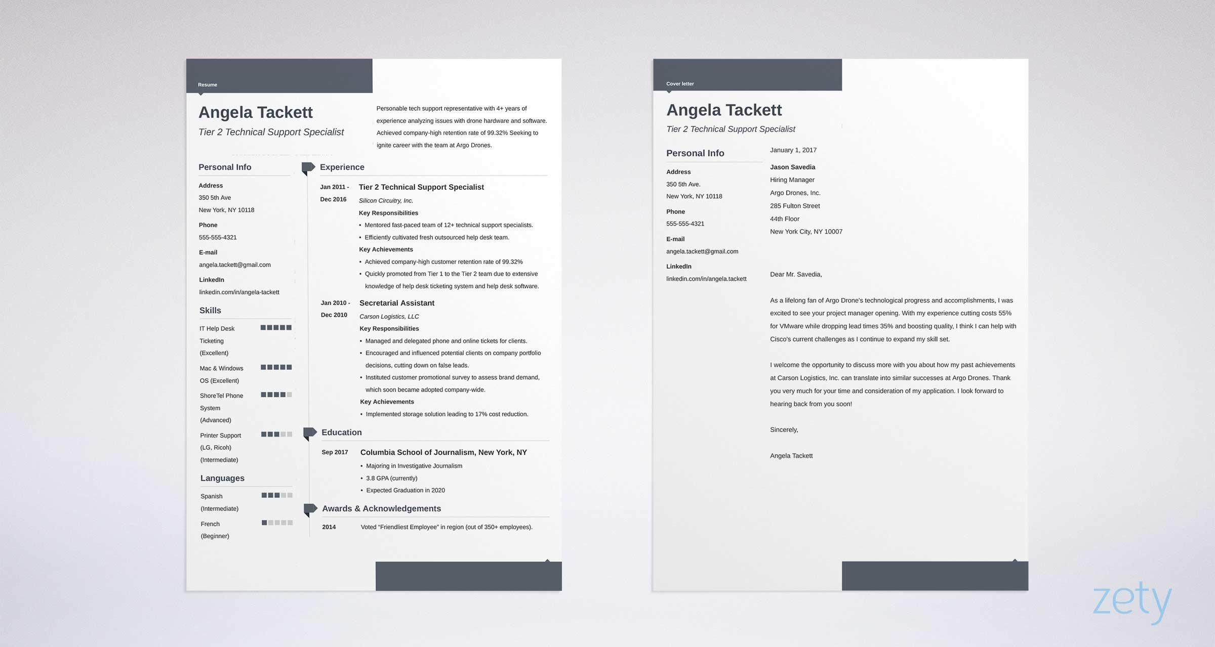 matching set of resume and cover letter